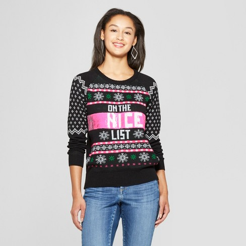Women's On the Naughty/Nice List Reversible Ugly Sweater - Well Worn (Juniors') Black - image 1 of 3