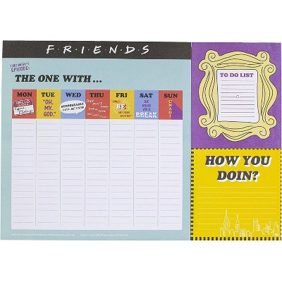 Friends TV Sitcom Themed Desk Planner   Weekly Calendar   52 Pages