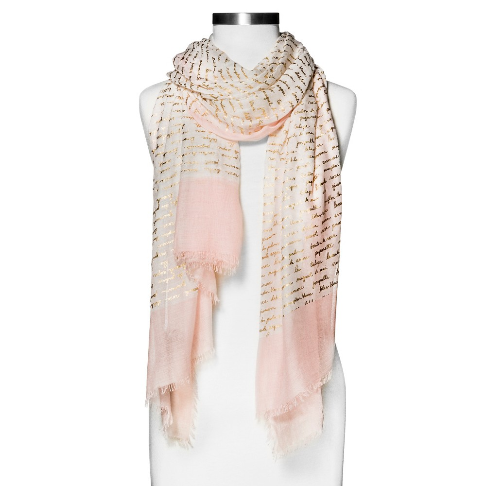 Women's Love Scroll Print Oblong Scarf with Pink Border - Merona Ivory