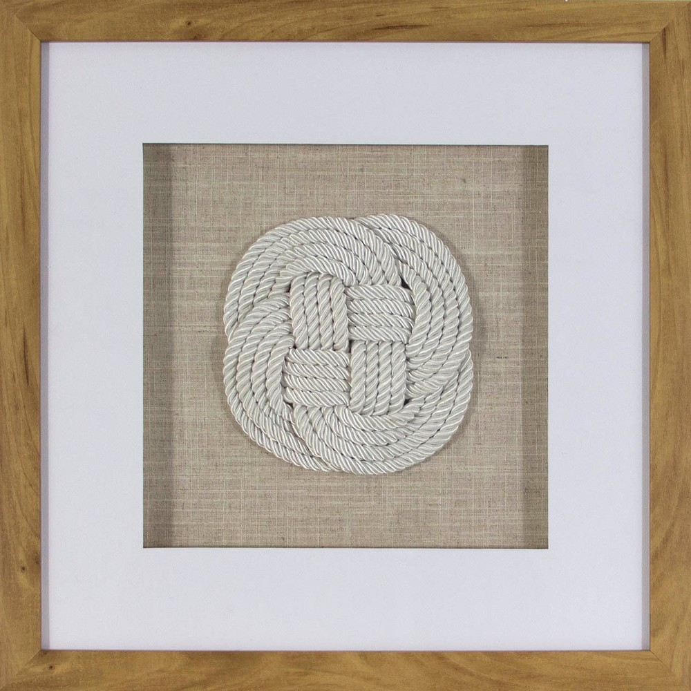 Rope Knot Shadowbox Decorative Wall Sculpture White - Threshold