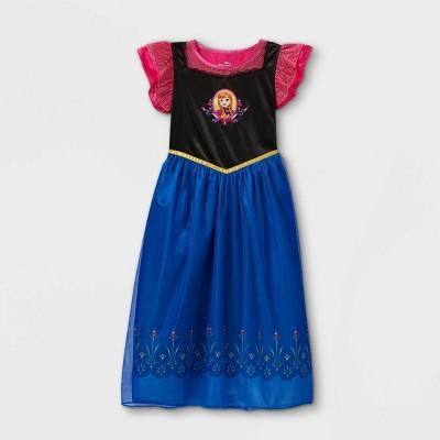 Girls' Disney Frozen Anna Nightgown - Pink/Black/Blue
