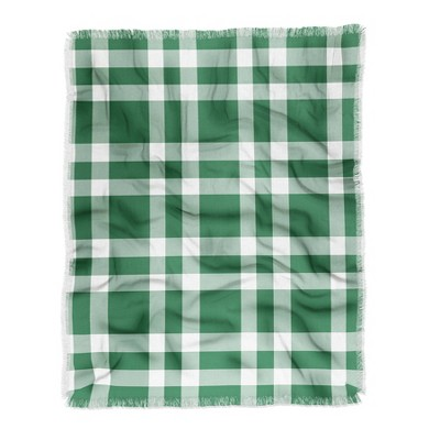 "50""x60"" Lisa Argyropoulos Cheery Checks Pine Woven Throw Blanket Green - Deny Designs"