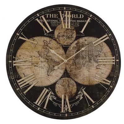 26.7  Round Maps Wall Clock Brown/Tan - Yosemite Home Decor®