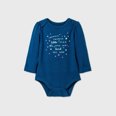 Baby Girls' 'Twinkle Twinkle' Long Sleeve Bodysuit - Cat & Jack™ Blue 3-6M