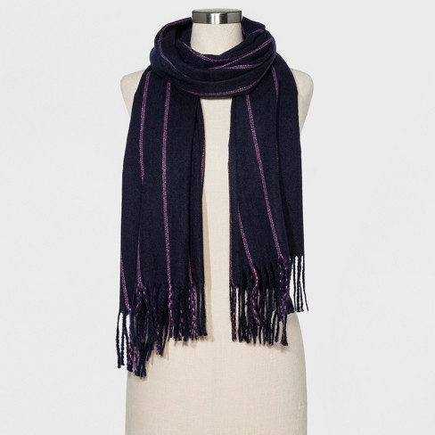 Women's Striped Oversized Blanket Scarf - A New Day™ Purple - image 1 of 2