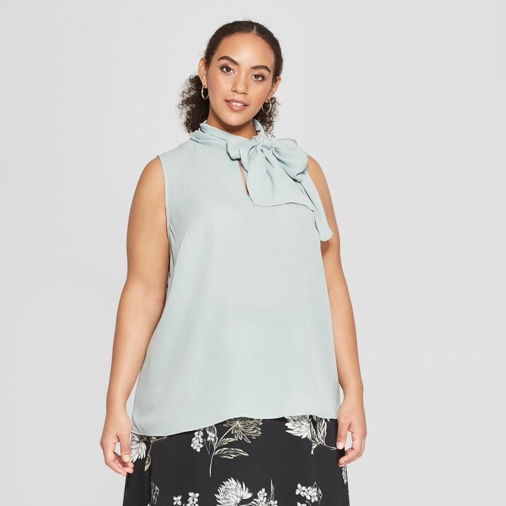 Women's Plus Size Tie Neck Shell - Who What Wear Green 1X