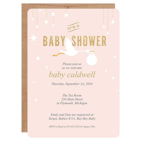 Inklings Paperie Pink Stork Print On Baby Target