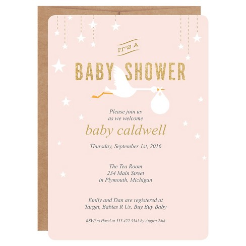Inklings Paperie Pink Stork Print On Baby Shower Invitations 12 Ct Target