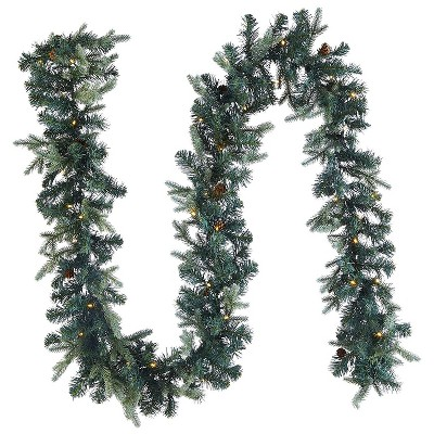 Noma Mini Pinecone 9 Foot Pre Lit 425 PE and PVC Pine Needle Christmas Garland Indoor and Outdoor Home Holiday Mantle Decor