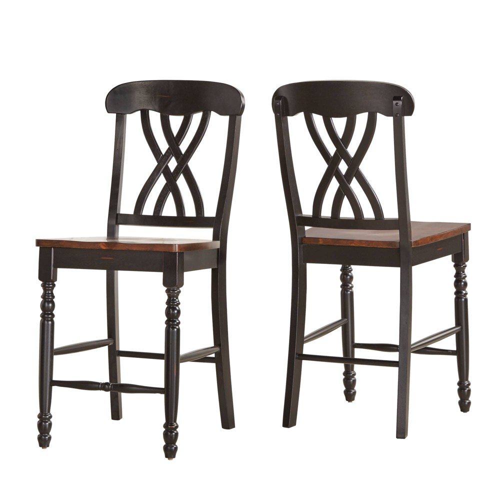 24 Set of 2 Countryside Counter Stools Antique Black - Inspire Q