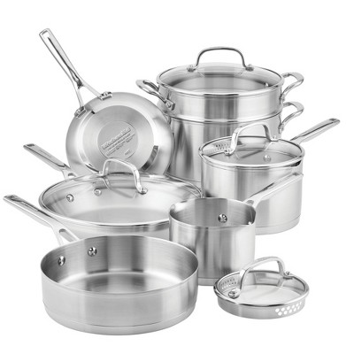 KitchenAid 3-Ply Base Stainless Steel 11pc Cookware Set
