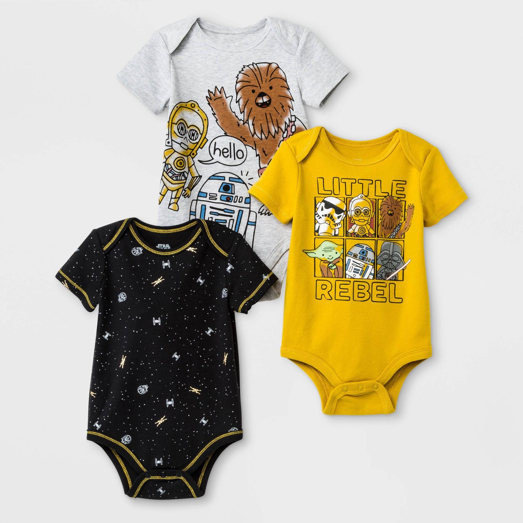 Baby Boys' 3pk Star Wars Bodysuit - 18M, Multicolored