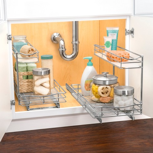 Lynk Professional 11 5 X 21 Slide Out Under Sink Cabinet Organizer Pull Two Tier Sliding Shelf