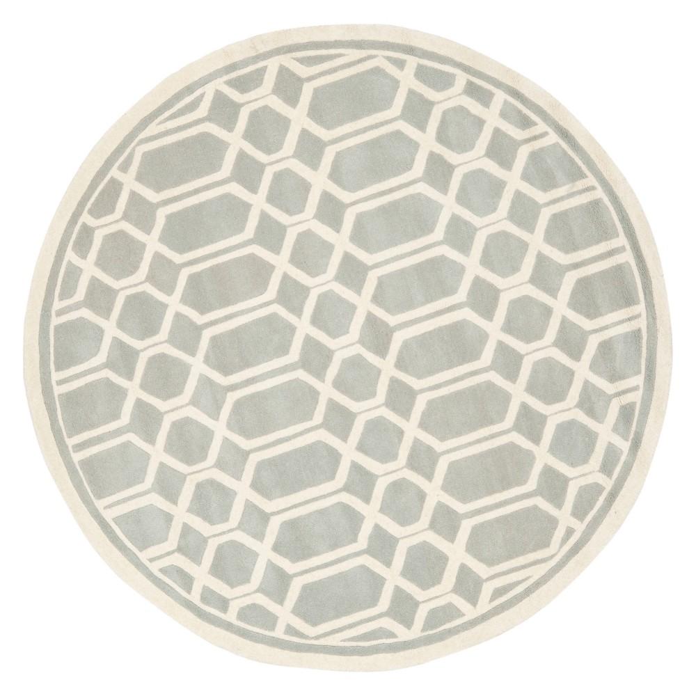 7' Geometric Tufted Round Area Rug Gray/Ivory - Safavieh