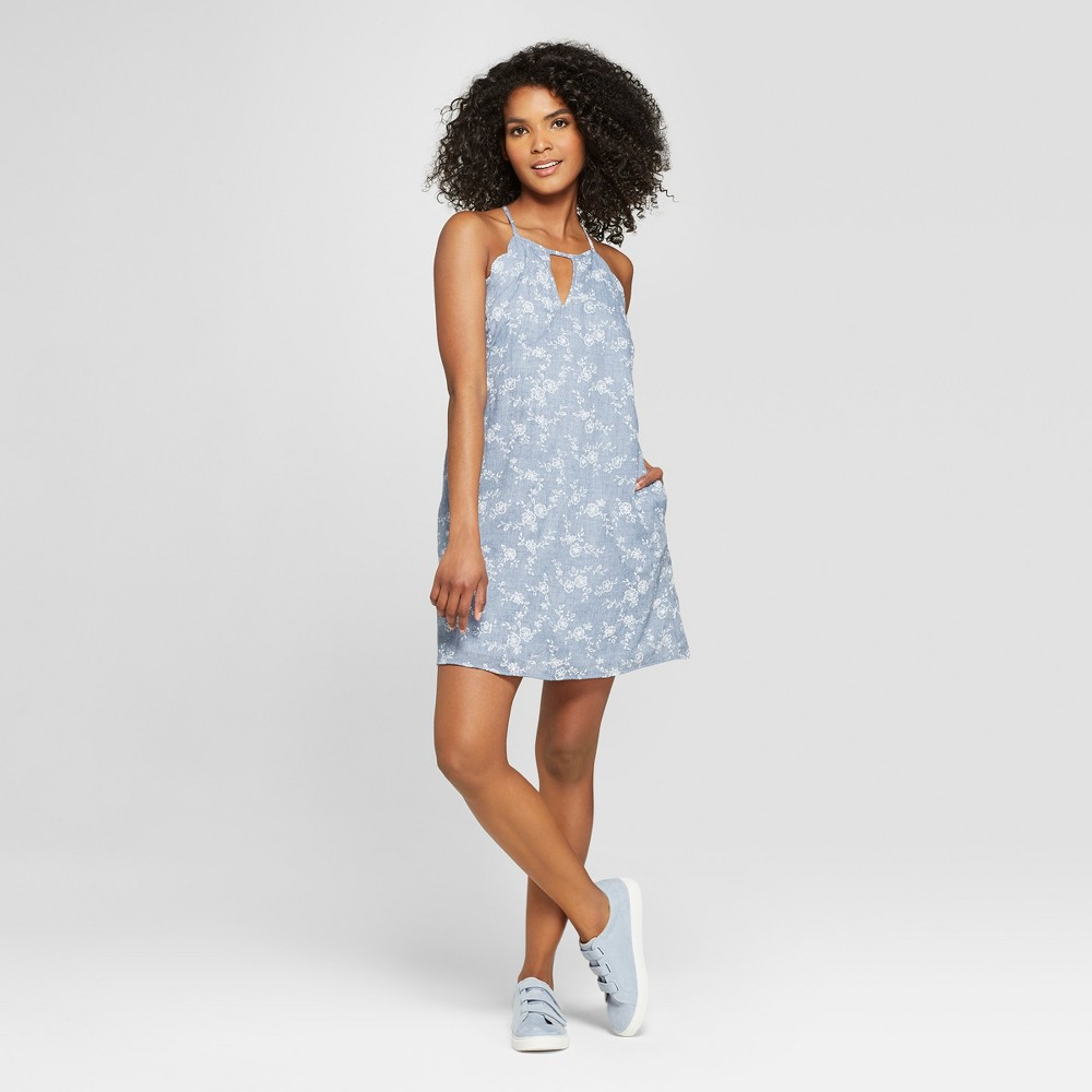 Women's Floral Print Scallop Embroidered Dress - Lots of Love by Speechless (Juniors') Chambray S, Size: Small, White Blue was $34.99 now $13.99 (60.0% off)