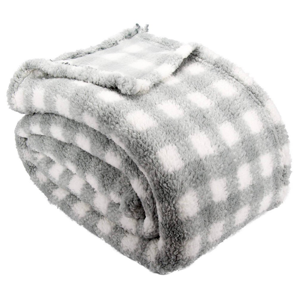 Image of Lodge Collection Full/Queen Printed Pattern Sherpa Bed Blanket Gray Plaid - Posh Home