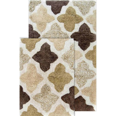 2pc Alloy Moroccan Tiles Bath Rug Set Khaki - Chesapeake