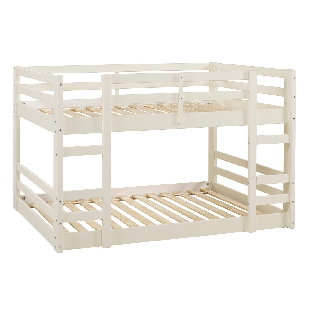 Twin Low Wood Bunk Bed White - Saracina Home