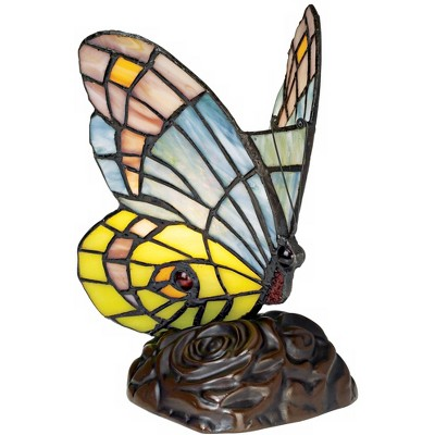 """Robert Louis Tiffany Butterfly in Flight 7 1/2"""" High Tiffany-Style Accent Lamp"""