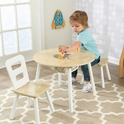 Beau Round Table And Chair White/Natural (Set Of 2)   KidKraft : Target