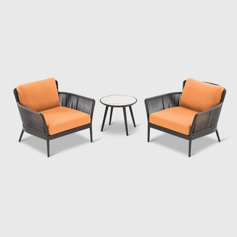 3pc Nette Patio Seating Set Black/Orange - Oxford Garden - image 1 of 1