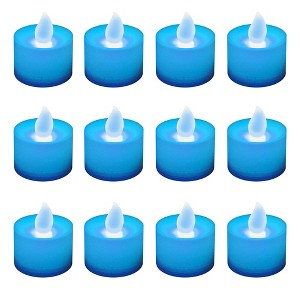 12ct Battery Operated LED Tea Lights Blue