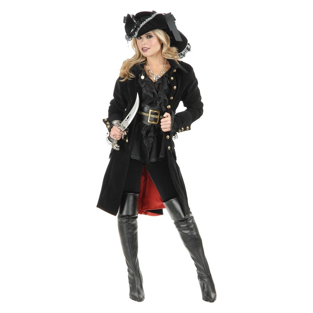 Image of Halloween Women's Pirate Coat Halloween Costume L, Size: Small, Black