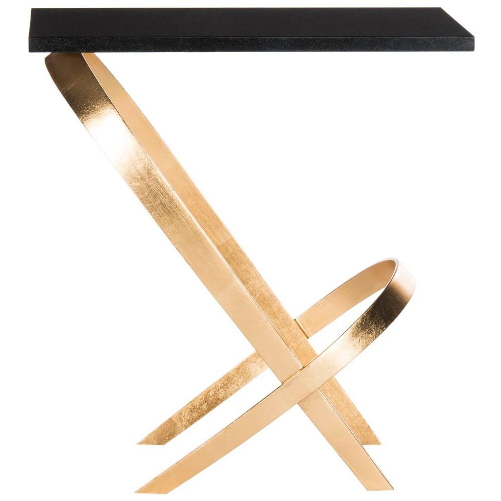 Dovie Side Table - Gold / Black - Safavieh
