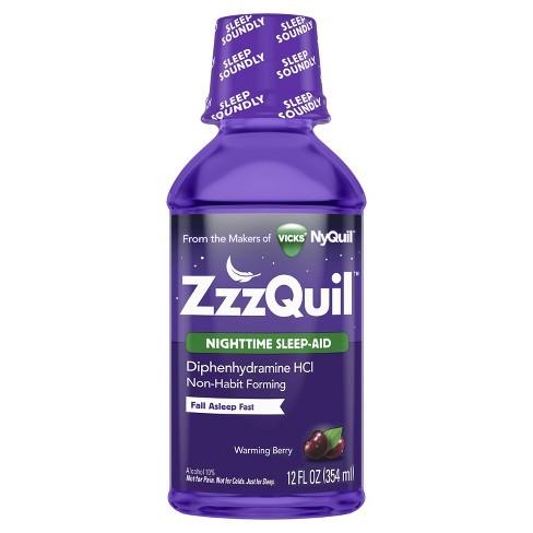 ZzzQuil Nighttime Sleep-Aid Liquid - Diphenhydramine HCl - Warming Berry Flavor - 12 fl oz - image 1 of 4