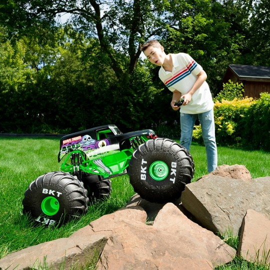 Monster Jam Official Mega Grave Digger All-Terrain Remote Control Monster Truck with Lights - 1:6 Scale image number null