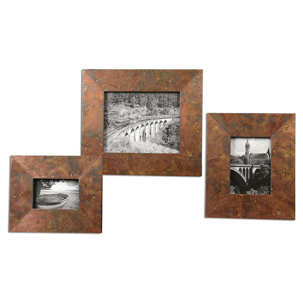 Image of Uttermost Ambrosia Copper Photo Frames Set of 3, Copper Yellow