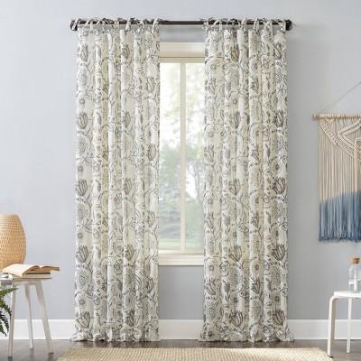 Marita Folk Floral Linen Blend Sheer Tab Top Curtain Panel - No. 918