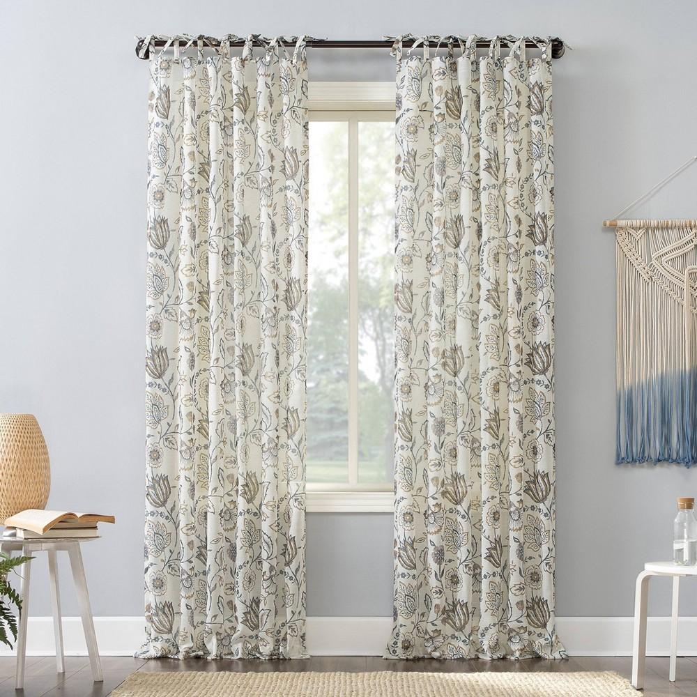 84 34 X50 34 Marita Folk Floral Linen Blend Sheer Tab Top Curtain Panel Beige No 918