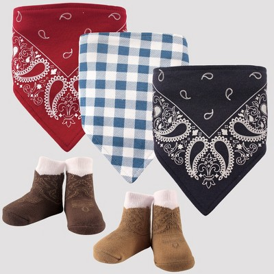 Hudson Baby Boys' 5pc Bandana Bib and Socks Set, Western - Red 0-12M