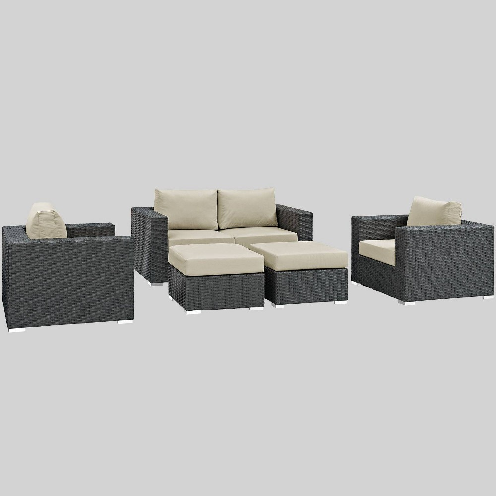 Sojourn 5pc Outdoor Patio Sectional Set with Sunbrella Fabric - Beige - Modway