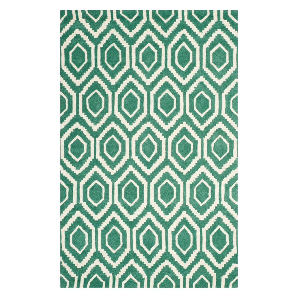 6'X9' Geometric Tufted Area Rug Teal/Ivory (Blue/Ivory) - Safavieh