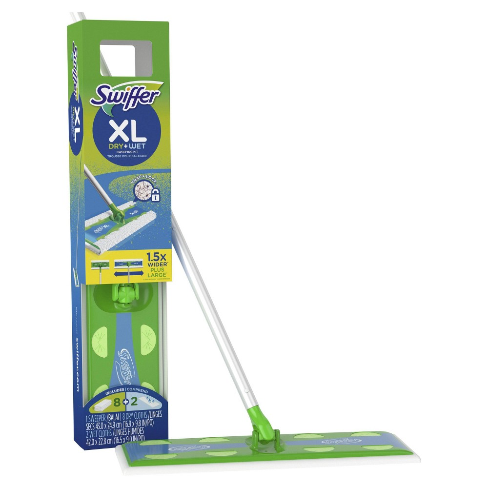 Swiffer Sweeper Dry + Wet XL Sweeping Kit, Bright Blue