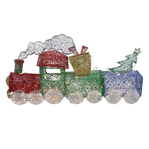 """Northlight 3 Piece Glittering Lighted Christmas Train With Present And Tree Yard Decor 55"""" : Target"""