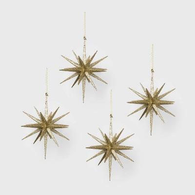 4ct Glitter Starburst Christmas Ornament Set Champagne - Wondershop™