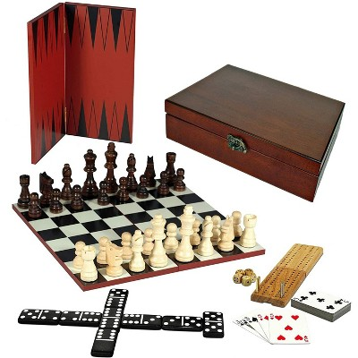 WE Games 7-in-1 Combination Game Set - Chess, Checkers, Backgammon, Cribbage, Dominoes Cards & Dice