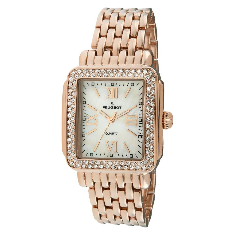 Women's Peugeot Crystal Bezel Panther Link Bracelet Watch with crystals from Swarovski - Rose Gold