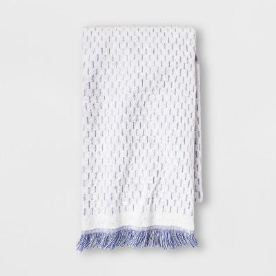 Small Stripes with Fringe Bath Towel White/Blue - Opalhouse™