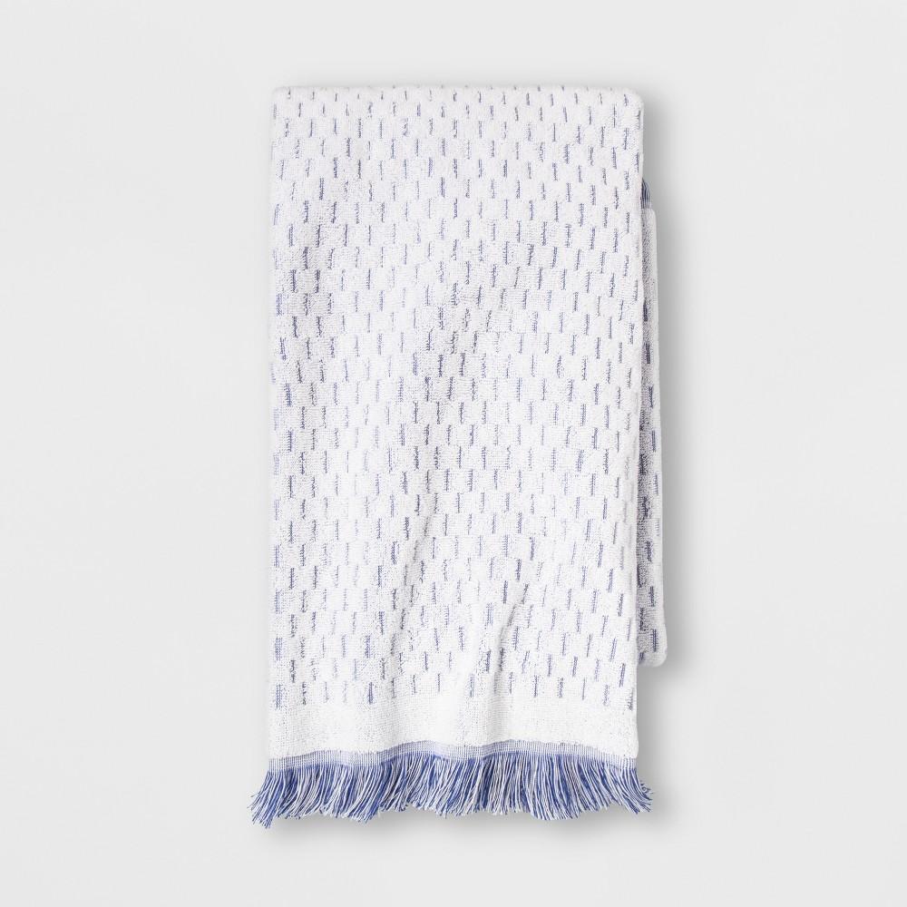 Small Stripes with Fringe Bath Towel White/Blue - Opalhouse