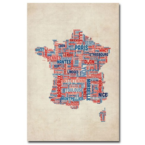 'France - Cities Text Map' by Michael Tompsett Ready to Hang Canvas Wall Art - image 1 of 3