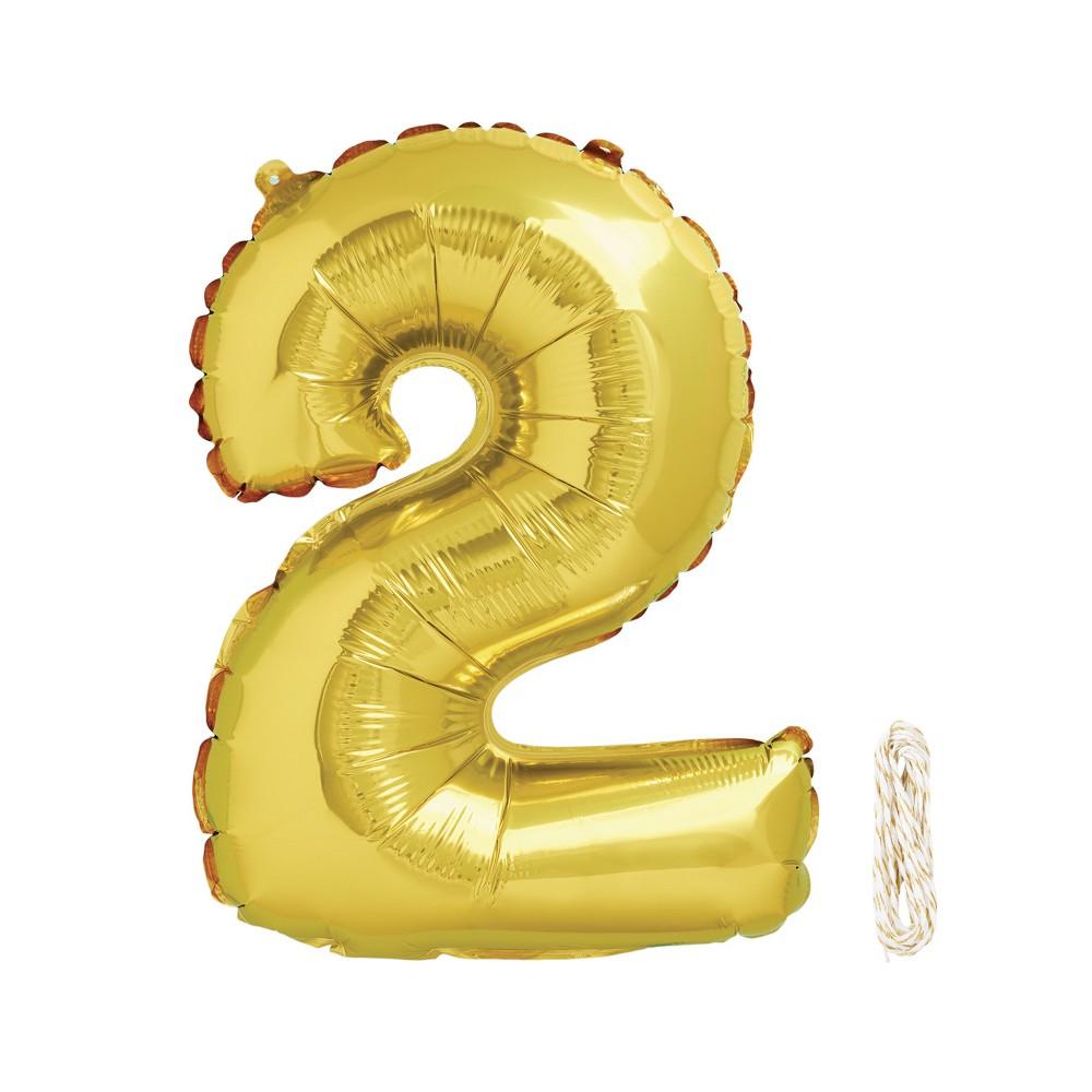 1ct 34 Number 2 Foil Balloon - Spritz, Light Gold