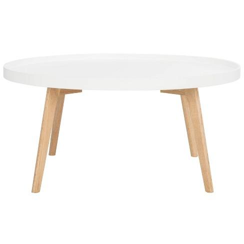 Round Coffee Table Wood.Sage Round Coffee Table White Oak Safavieh