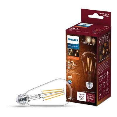 Philips Premium 60W ST19 E26 2700-2000K Warm Glow LED Light Bub T20 Clear