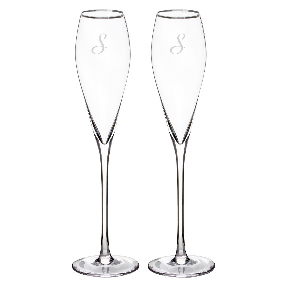 2ct Monogram Silver Rim Champagne Flutes - S, Clear-S