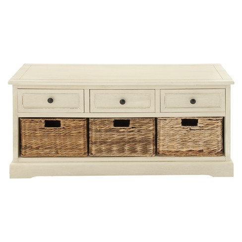 Wood Storage Cabinet 3 Wicker Baskets 3 Drawers White Olivia May