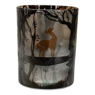 "Northlight 5"" Hand Painted Forest and Deer Flameless Glass Candle Holder"